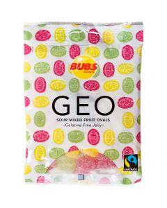 Bubs Geo Sour Mixed Fruit Ovals 90g