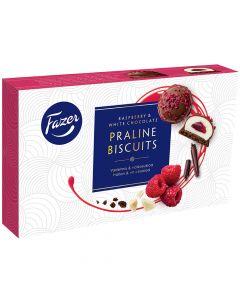 Fazer Praline Biscuits Hallon & Vit choklad 60g