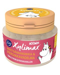 Fazer Xylimax Moomin helxylitolpastil Smultron & Persikahallon 90g
