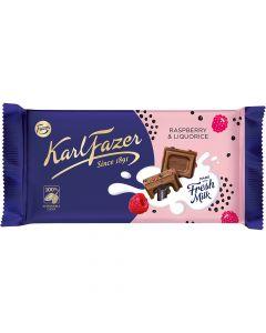 Karl Fazer Lakrits & Hallon mjölkchoklad 145g