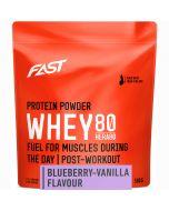Fast Whey80 vassleproteinpulver blåbär-vanilj 500g
